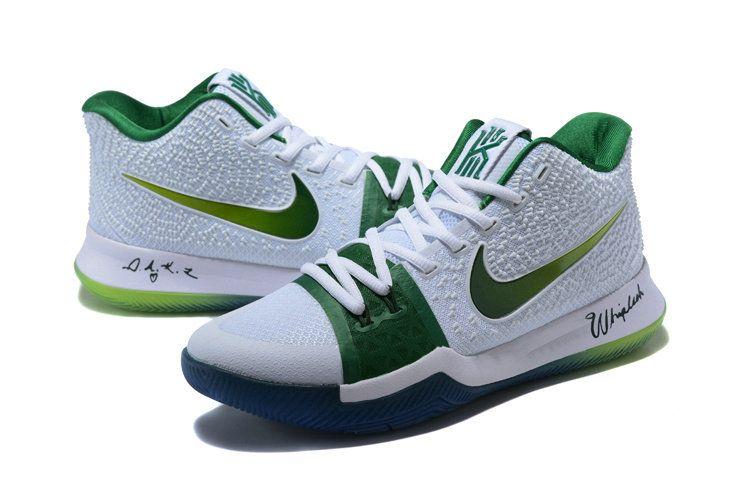f271c704031b Cheap Priced Nike Kyrie 3 Boston Celtics PE White Green Mens Basketball  Shoes 2018 On Sale