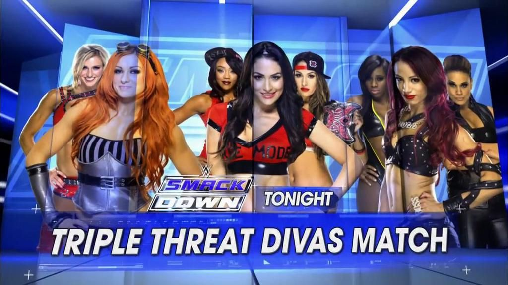 #TripleThreat Diva action TONIGHT on #SmackDown. Which team are you with? I'm rooting for The BO$$ Sasha Banks or the Lass Kicker Becky Lynch