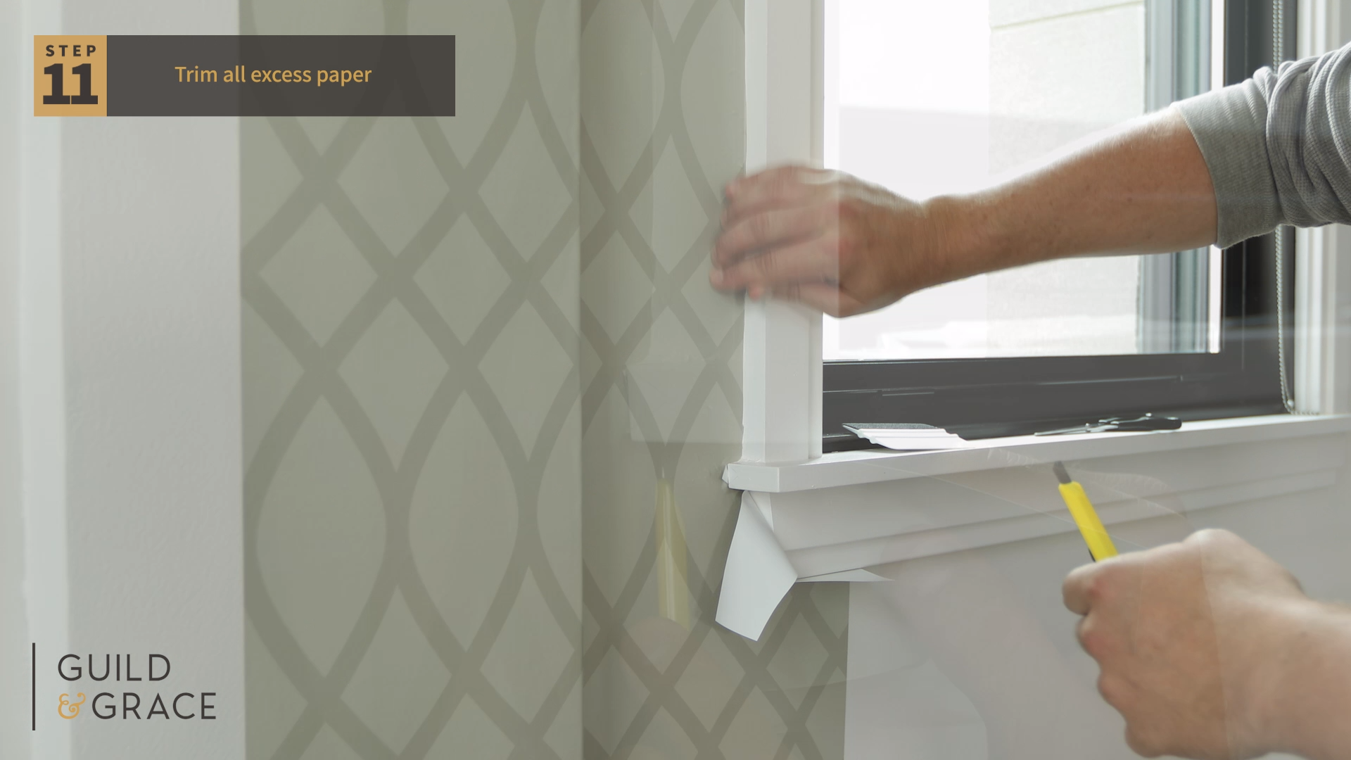 How To Install Your Removable Wallpaper Around Window Sills Video Removable Wallpaper How To Install Wallpaper Wallpaper Decor