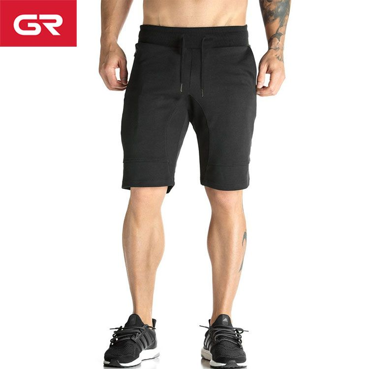 Black Cotton Polyester Tapered Fit Sports Shorts Zipper Pocket Mens Gym  Shorts