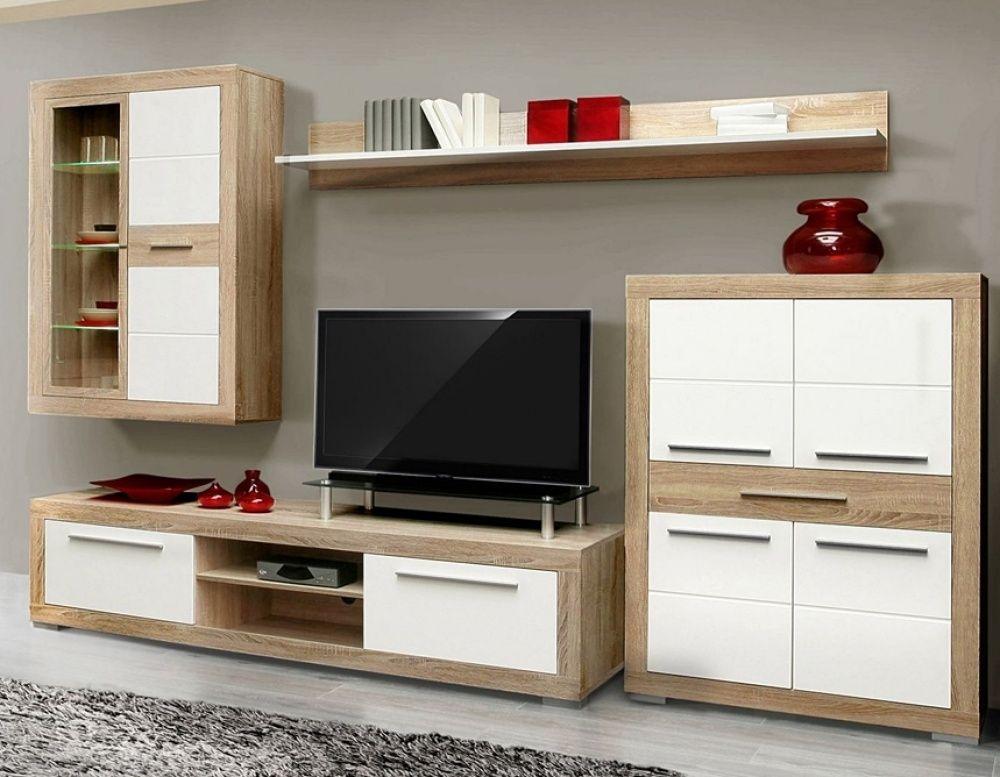 Moderne Wohnwand Andrea I in trendigen Farben bestehend aus 1x - wohnzimmer eiche weis