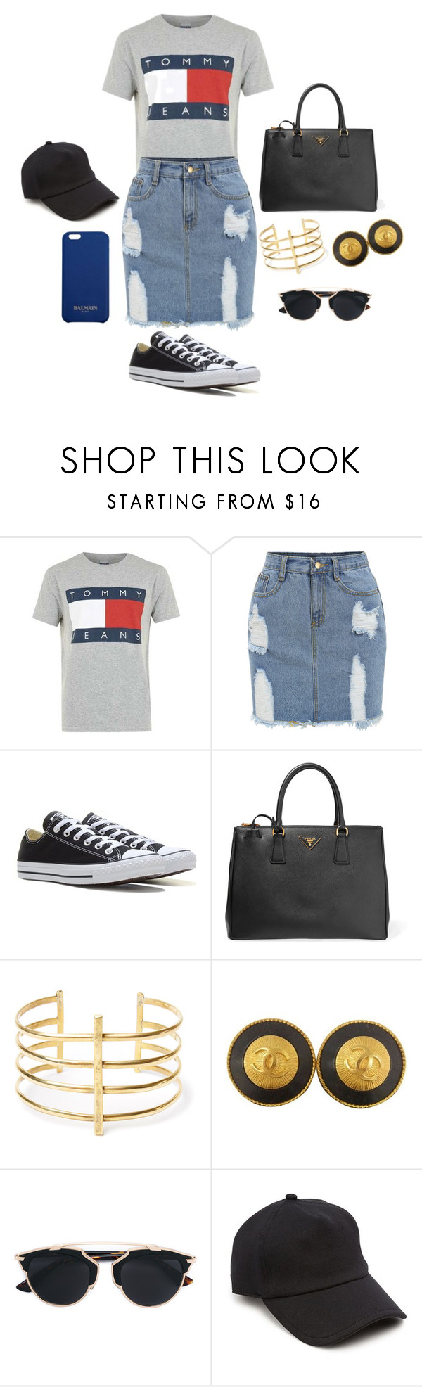 """casual day"" by georgiagleeson-14 ❤ liked on Polyvore featuring Tommy Hilfiger, Converse, Prada, BauXo, Chanel, Christian Dior, rag & bone and Balmain"