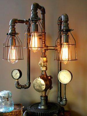 Lámparas retro vintage con tuberías