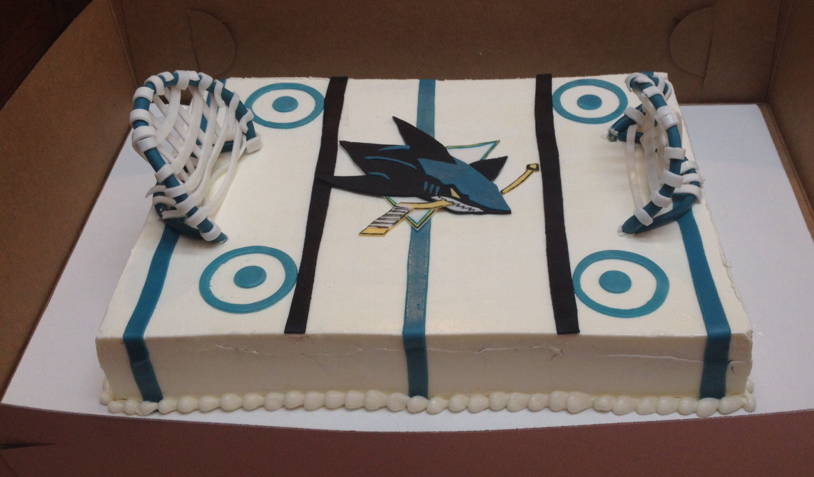 San Jose Sharks Birthday Cake Rink Sharks Cake Puck Yeah