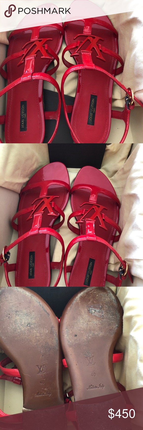 1589813b5567a LouisVuitton Paradiso sandals. Red patent leather Paradiso sandals. Size  40
