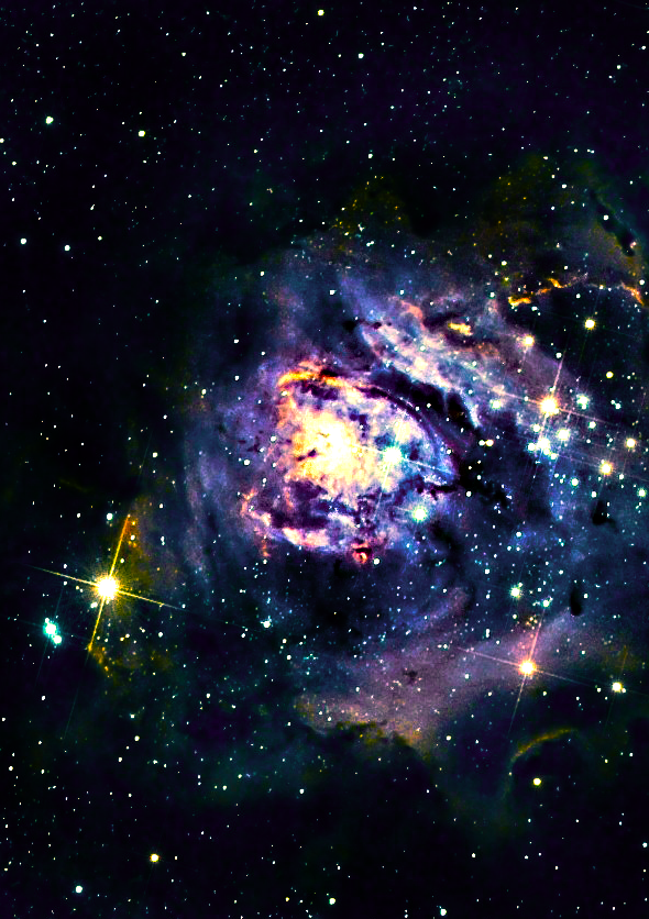 "The Lagoon Nebula #8 of Charles Messier's ""not a comet"" list, the Lagoon Nebula is a cloud of ionized hydrogen estimated to be 4000-6000 light years from earth. It can be seen with the naked eye as a gray/green patch in the constellation of Sagittarius. PHOTOGRAPHER: Chuck Manges"
