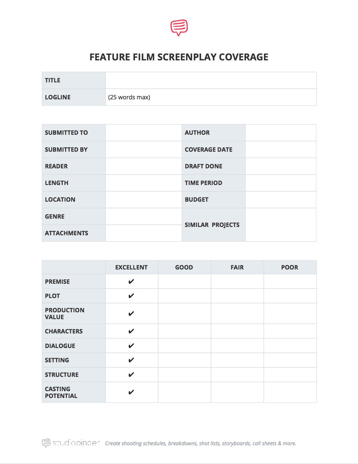 Predownload: Download Free Script Coverage Template Studiobinder Script Reader Notes Template Script [ 1560 x 1204 Pixel ]