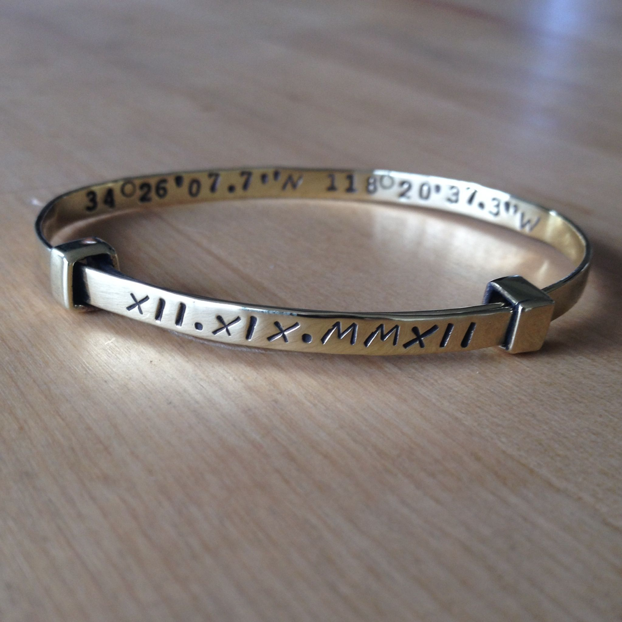 initials name numerals can custom pin with latitude bar our longitude personalize you bracelet roman or dates gold coordinates and