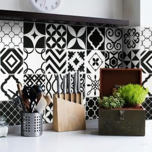 Smart Tiles Vintage Bilbao 9 In W X 9 In H Black And White Peel And Stick Decorative Mosaic Wall Tile Backsplash 6 Pack Sm1090 6 In 2020 Smart Tiles Decorative Wall Tiles Stick On Tiles