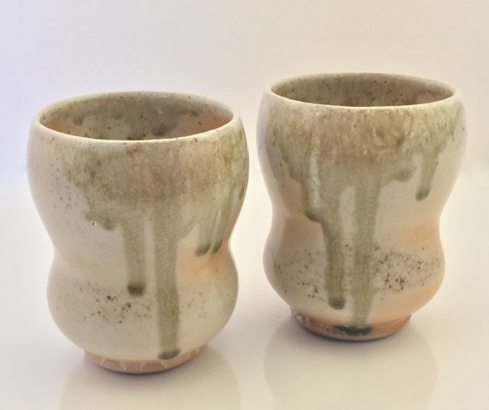 pair of wood-fired porcelain tumblers