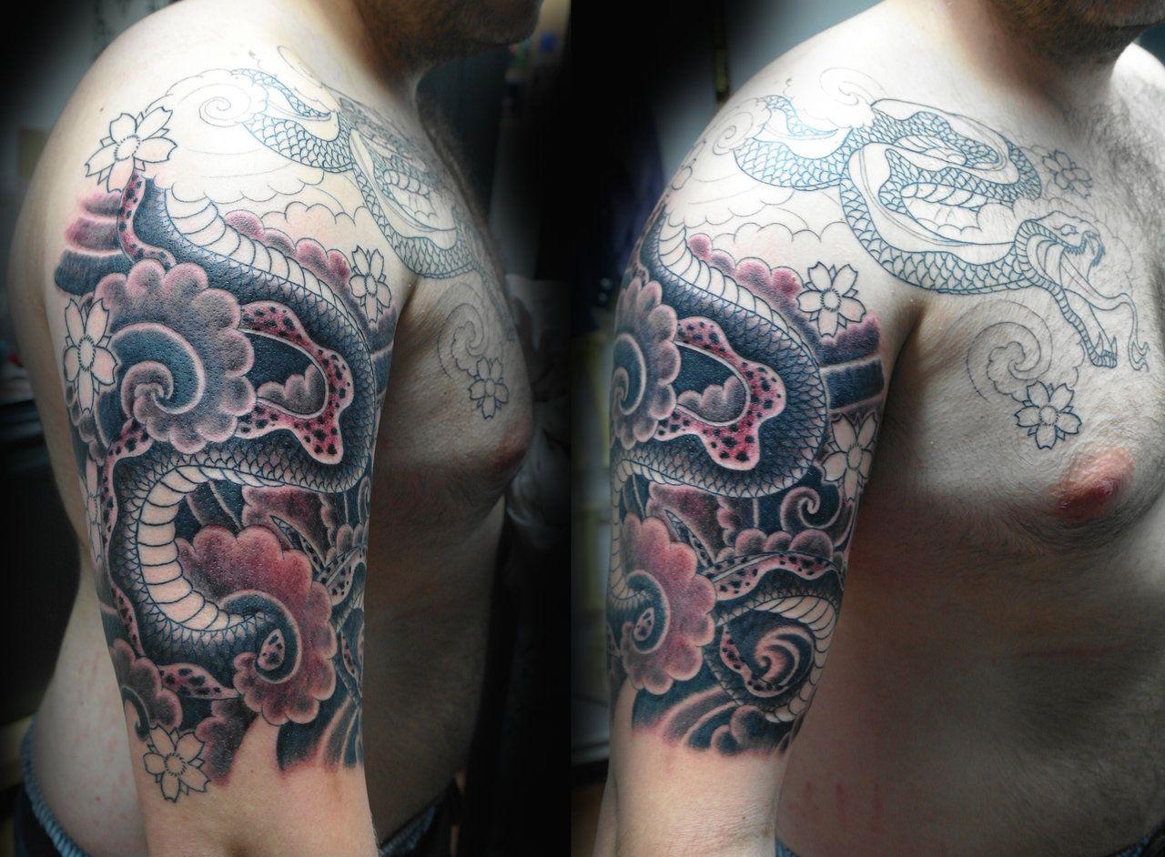 Half Sleeve To Chest Tattoos Designs Snake Chest Half