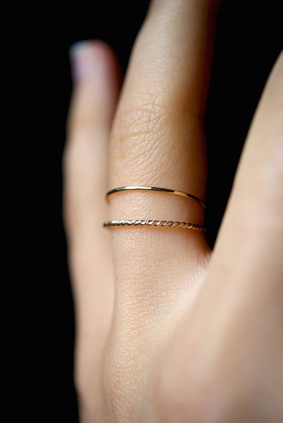 14K Gold fill Twist stacking rings, gold stack ring, skinny gold ...