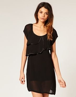 Vero Moda Sheer Layered Drape Collar Chiffon Dress - StyleSays