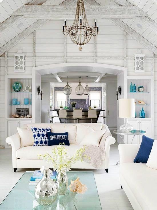 64 White Living Room Ideas Beach cottages Cottage interiors and