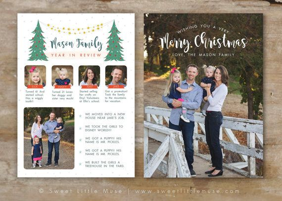 Year In Review Card Template For Photographers Christmas Etsy Holiday Card Template Christmas Card Template Family Christmas Cards