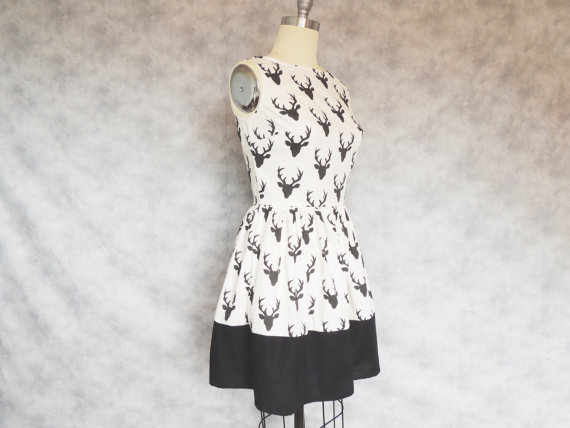 Quirky whimsical black and white casual deer print dress