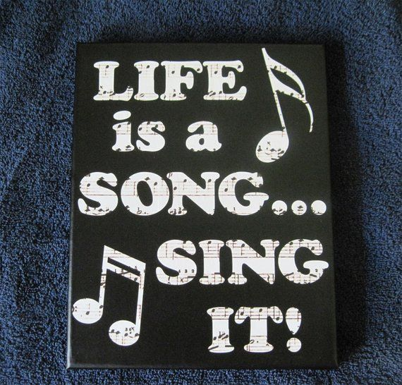 Vinyl Canvas Wall Art Life is a Song Sing It, Classroom or Music Studio Whimsical Wall Decor, Musical Canvas Gift for Teacher or Student
