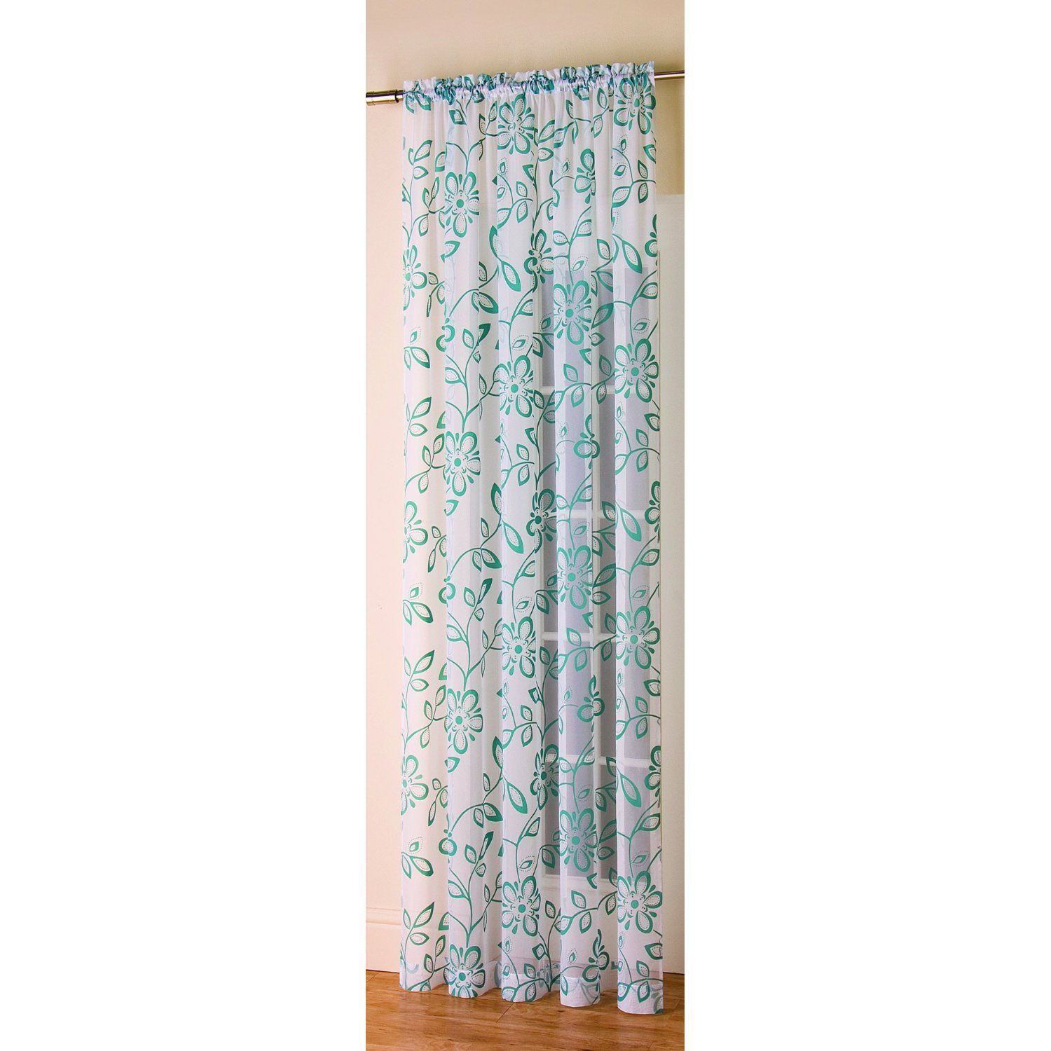 Floral Flock voile Panel in Teal 72\