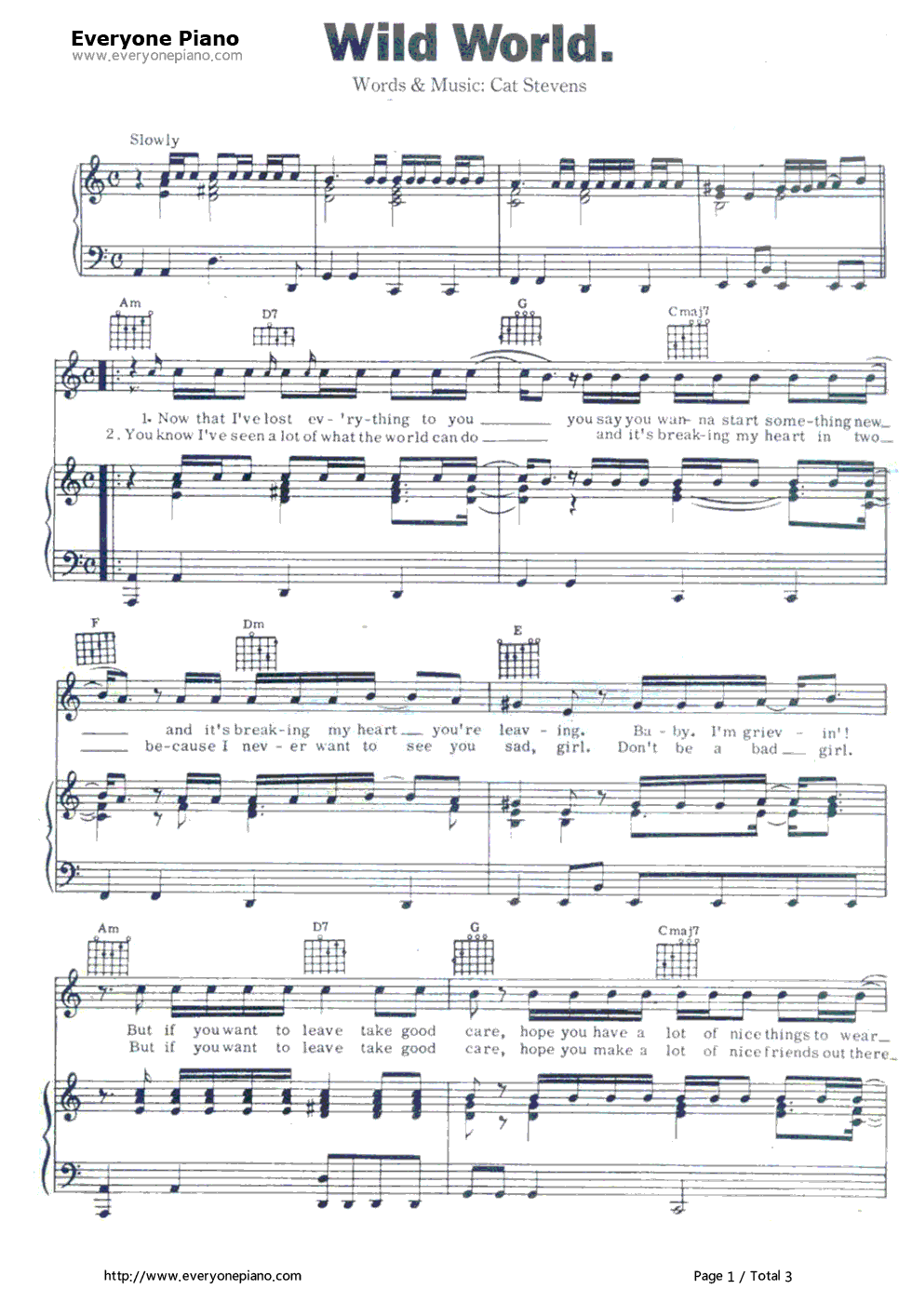 Wild WorldCat Stevens Stave Preview 1Free Piano Sheet