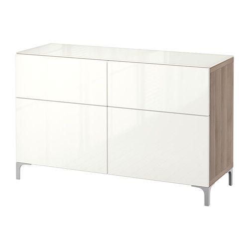 Besta Storage Combination W Doors Drawers Walnut Effect Light Gray Selsviken High Gloss White 47 1 4x15 3 4x29 1 8 Decoraciones De Interiores Dormitorios Aparador Estrecho Decoracion De Unas