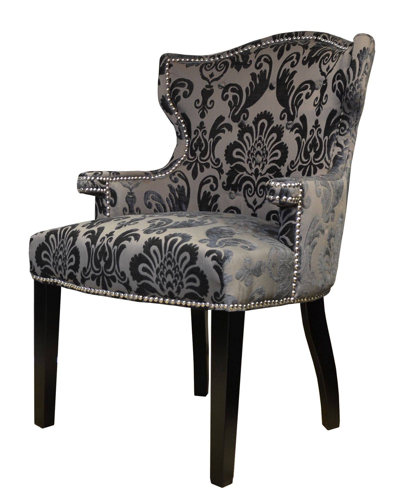 Brittania Fan Damask Arm Chair Wingback Chair Upholstery Accent Chair Chair