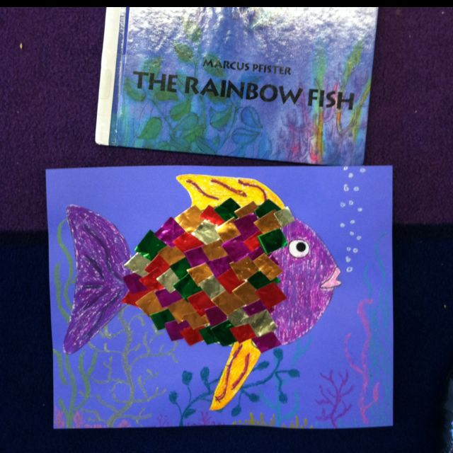 Rainbow Fish Craft Collage With Different Colors Of Paper Glued