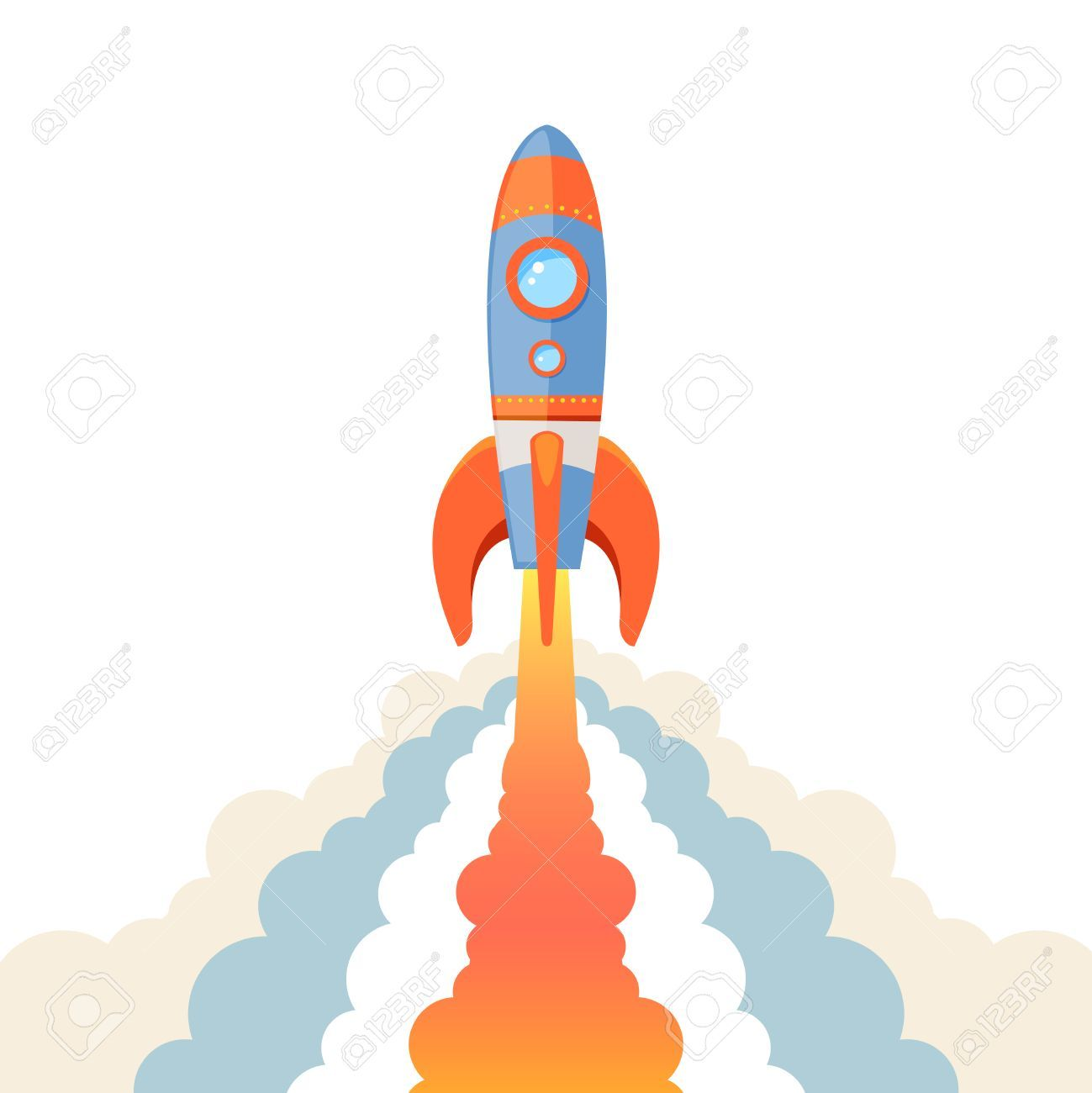 space rocket ship start cartoon emblem isolated on white