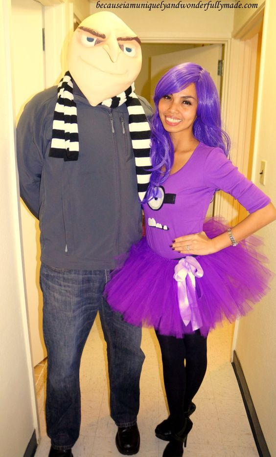 Hubby and I as Gru and his Purple Evil Minion from Despicable Me - halloween movie ideas