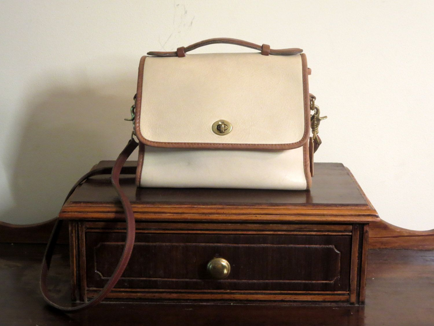 d7d2fab261f Coach Court Bag Spectator Collection Bone with Tabac Trim Style No. 6870-  Made In U.S.A. - VGC by ProVintageGear on Etsy