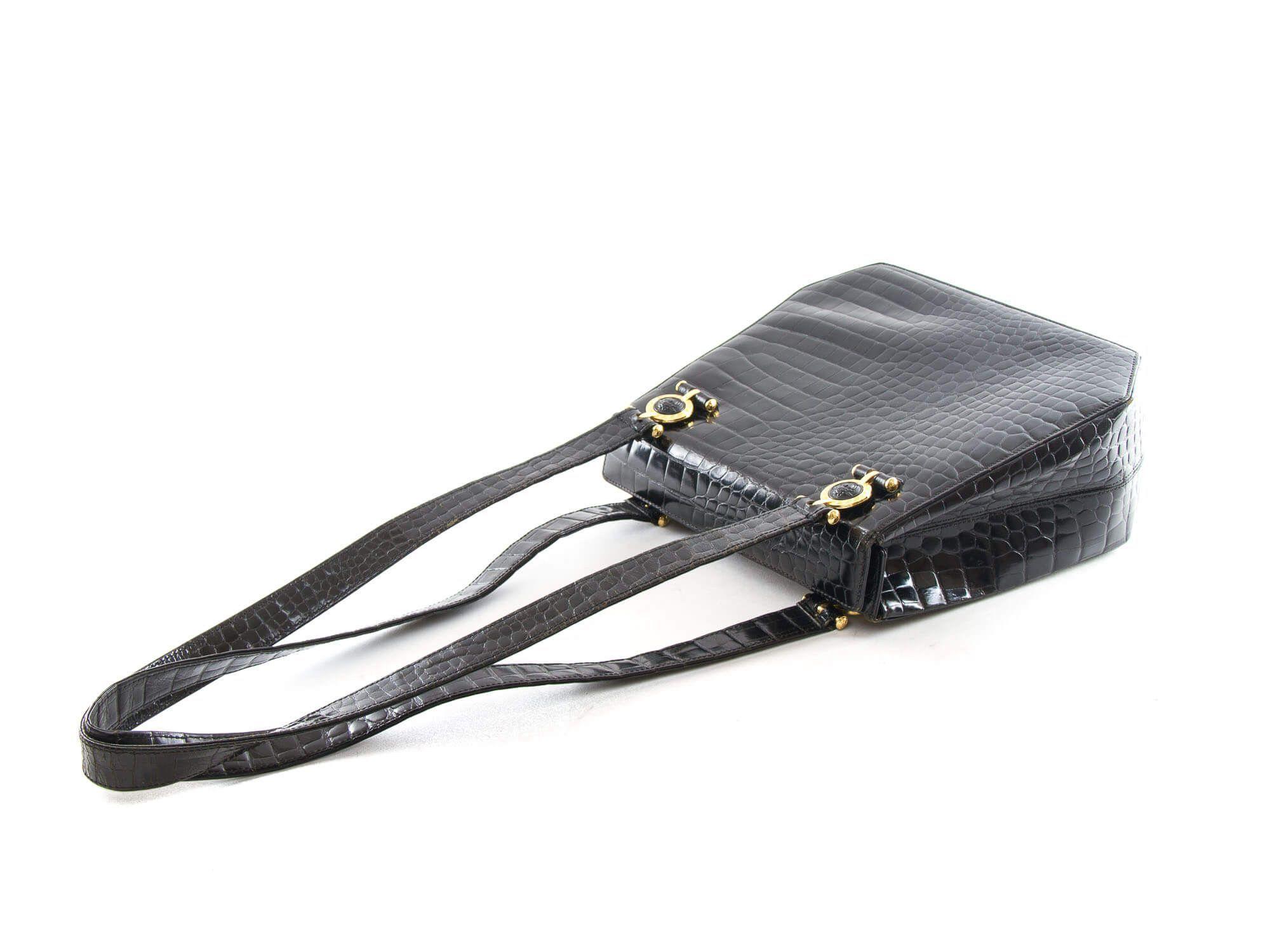 1d11904315 Authentic Gianni Versace medusa logo Black Croc shoulder bag