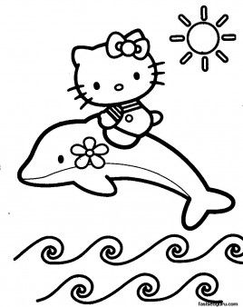 Print out coloring pages of Dolphin with Hello Kitty Printable
