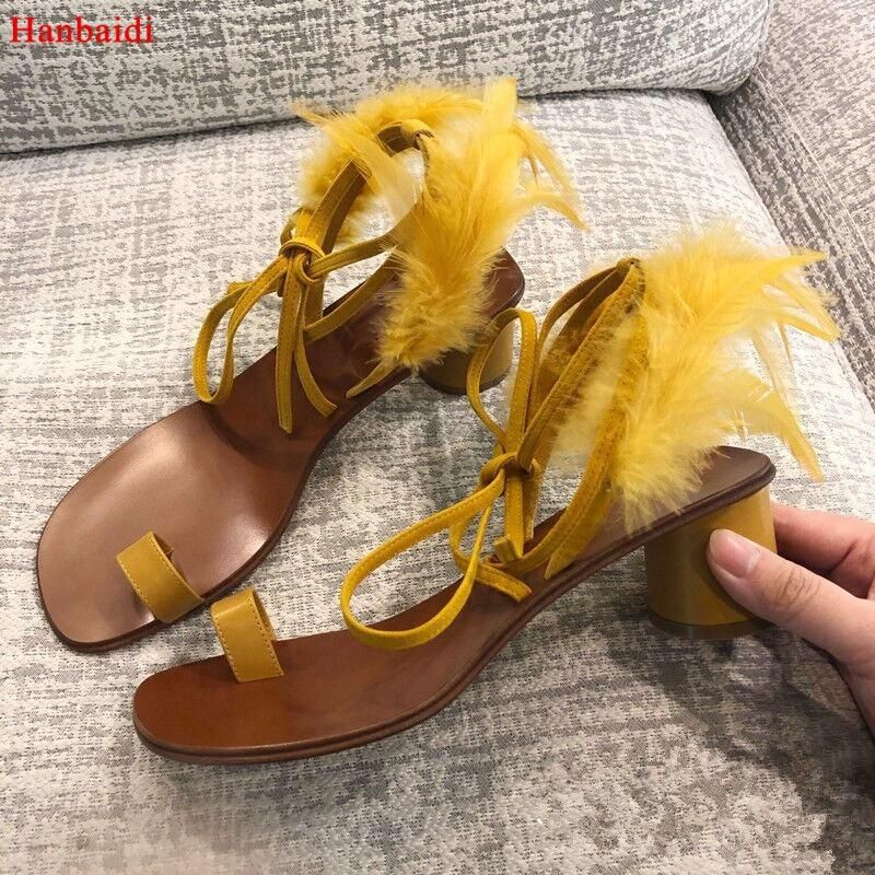 Hanbaidi Yellow Feather Gladiator Sandals Woman Open Toe Chunky High Heel Shoes Woman Ankle Strappy Bandage Sandals Shoes Women