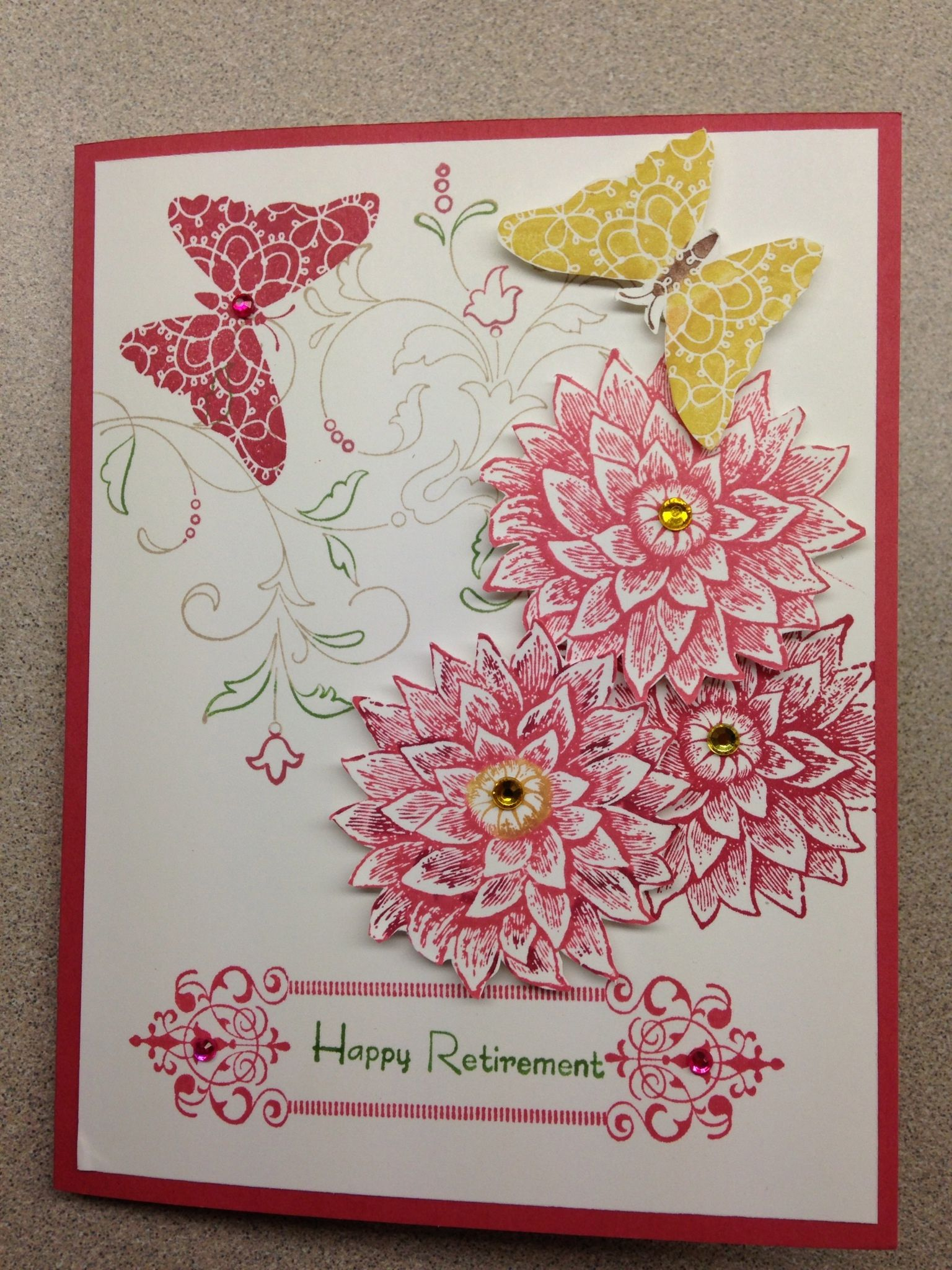 Stampin up retirement card made with creative elements stamp set