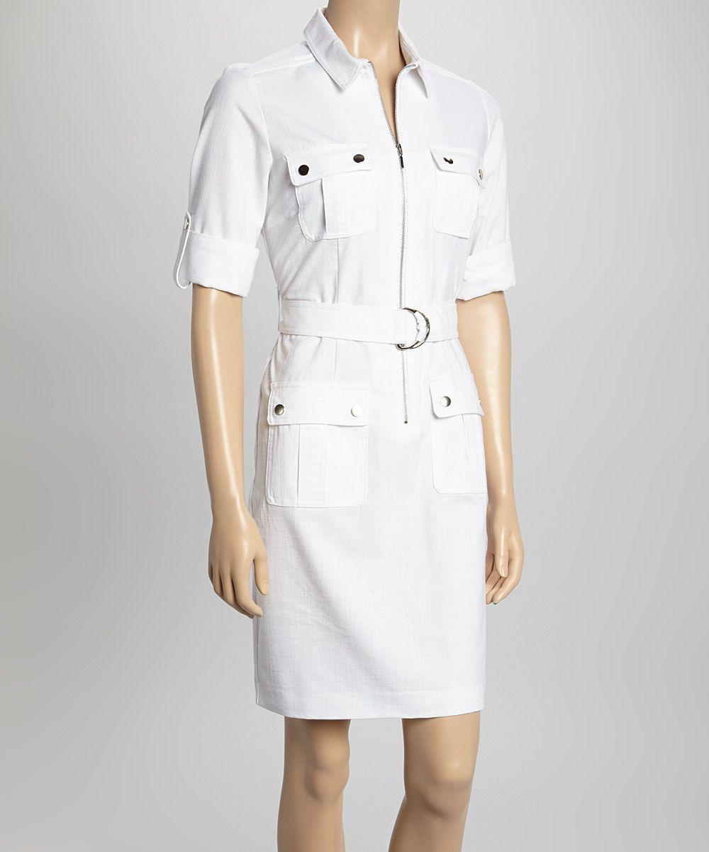 This Sharagano White Short Sleeve Shirt Dress By Sharagano Is