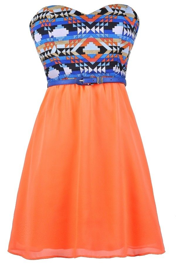 3afb799e248 Lily Boutique Neon Orange and Blue Southwestern Print Belted Dress ...