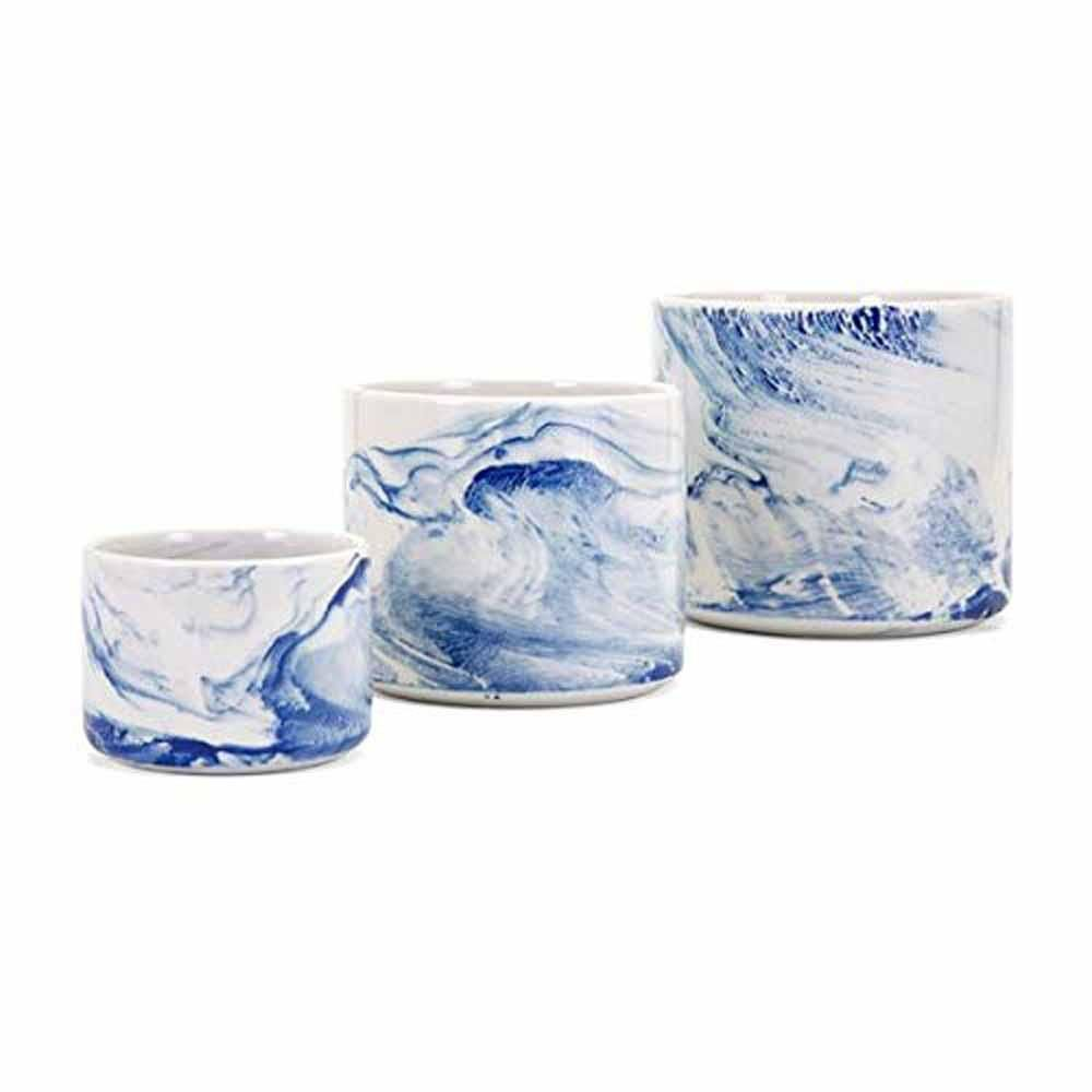 Imax Blue Willow Faux Marble Planters Set Of 3 14564 3 The Home Depot In 2020 Faux Marble Ceramic Planters Ceramic Pot