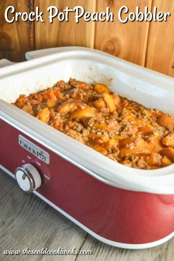 Crock Pot Peach Cobbler may be the easiest dessert around because all the ingredients get dumped into the slow cooker insert and mixed together.