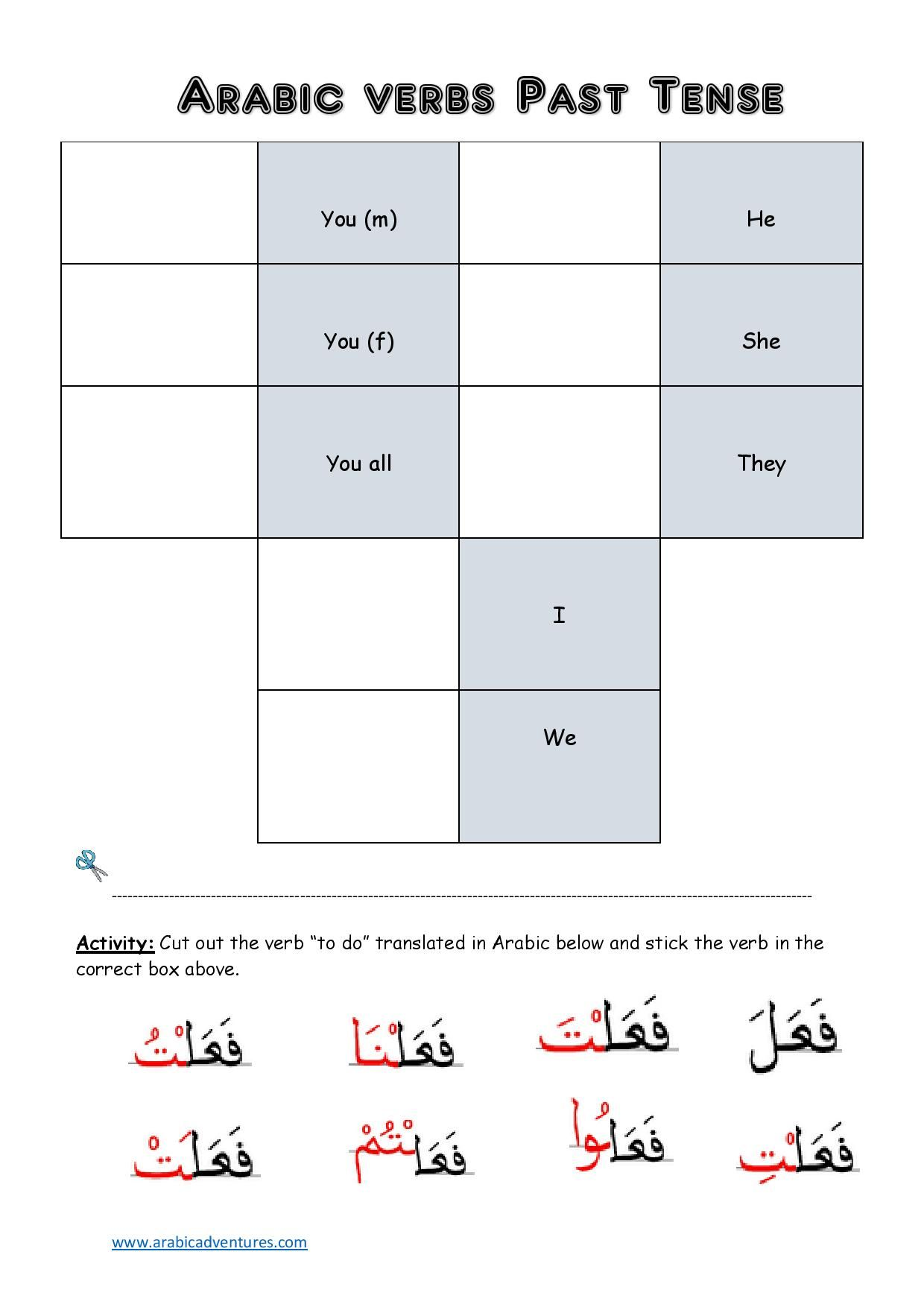 Arabic Past Tense Conjugation Table Cut And Paste Activity Free At Abicadventures