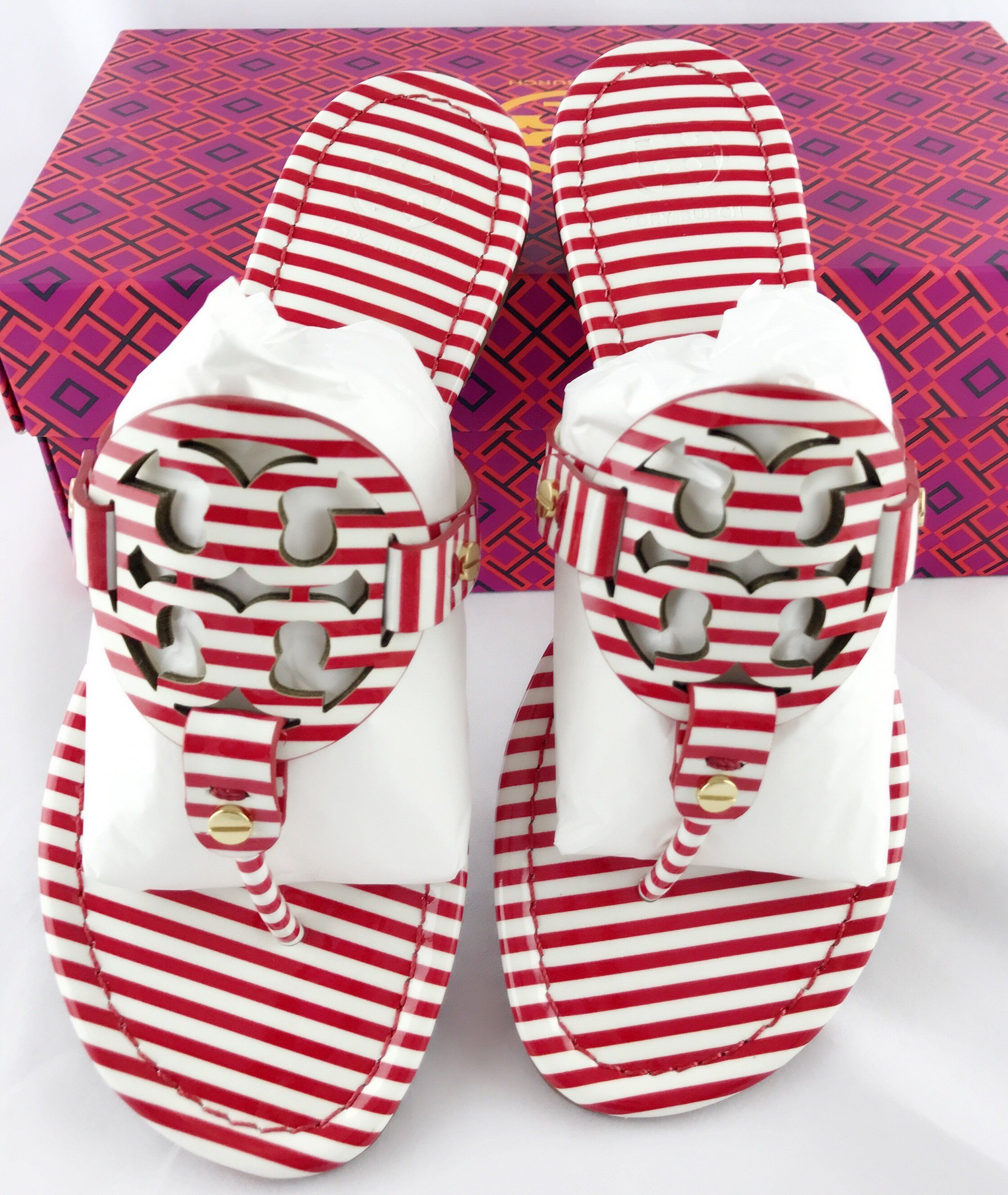 a03d00a985d Tory Burch Miller Sandal Patent Leather Red White Nautical Stripe 7 7.5   Handbags  GabysBags