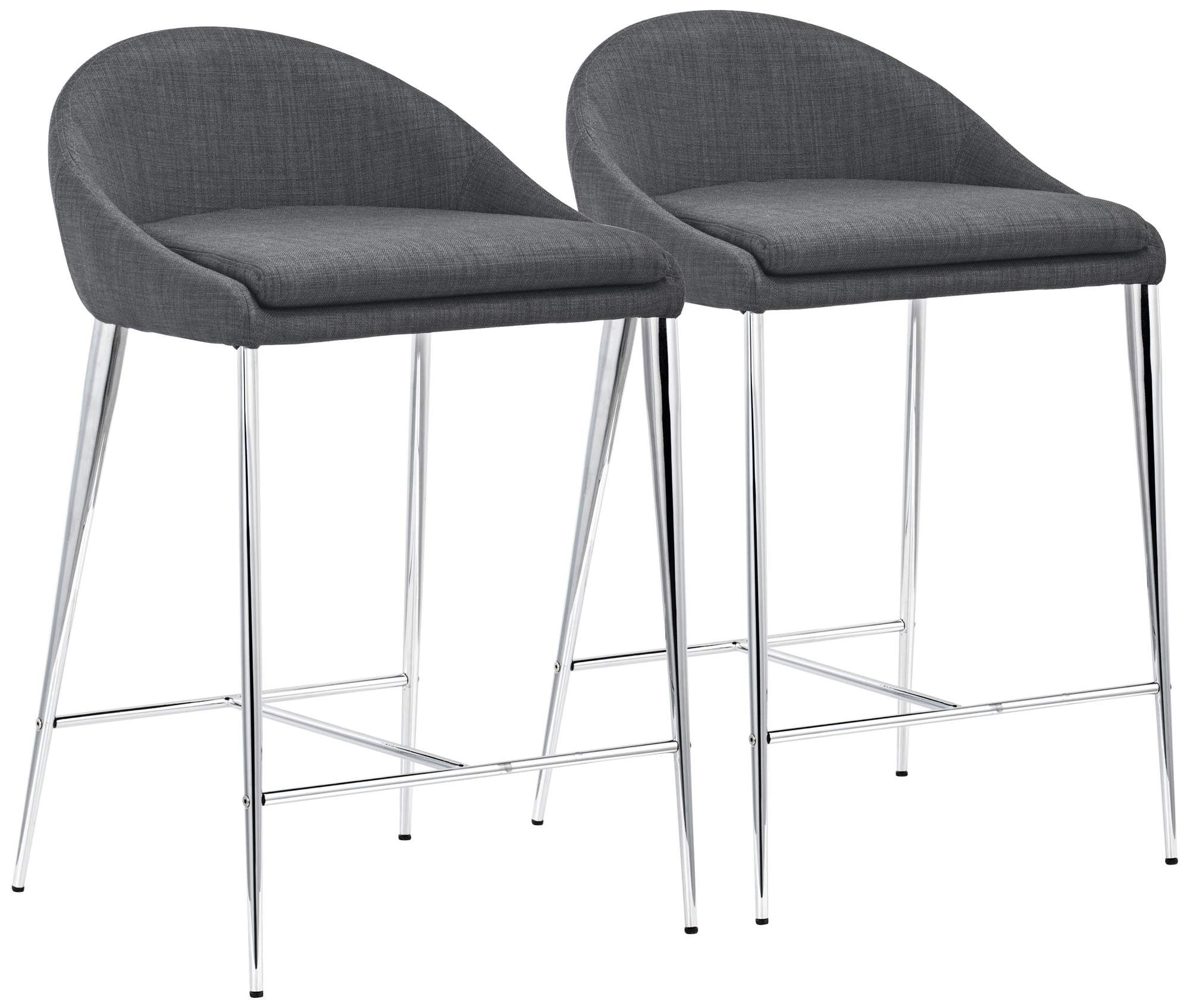 Zuo Reykjavik 24 And One Half Graphite Fabric Counter Chairs Set