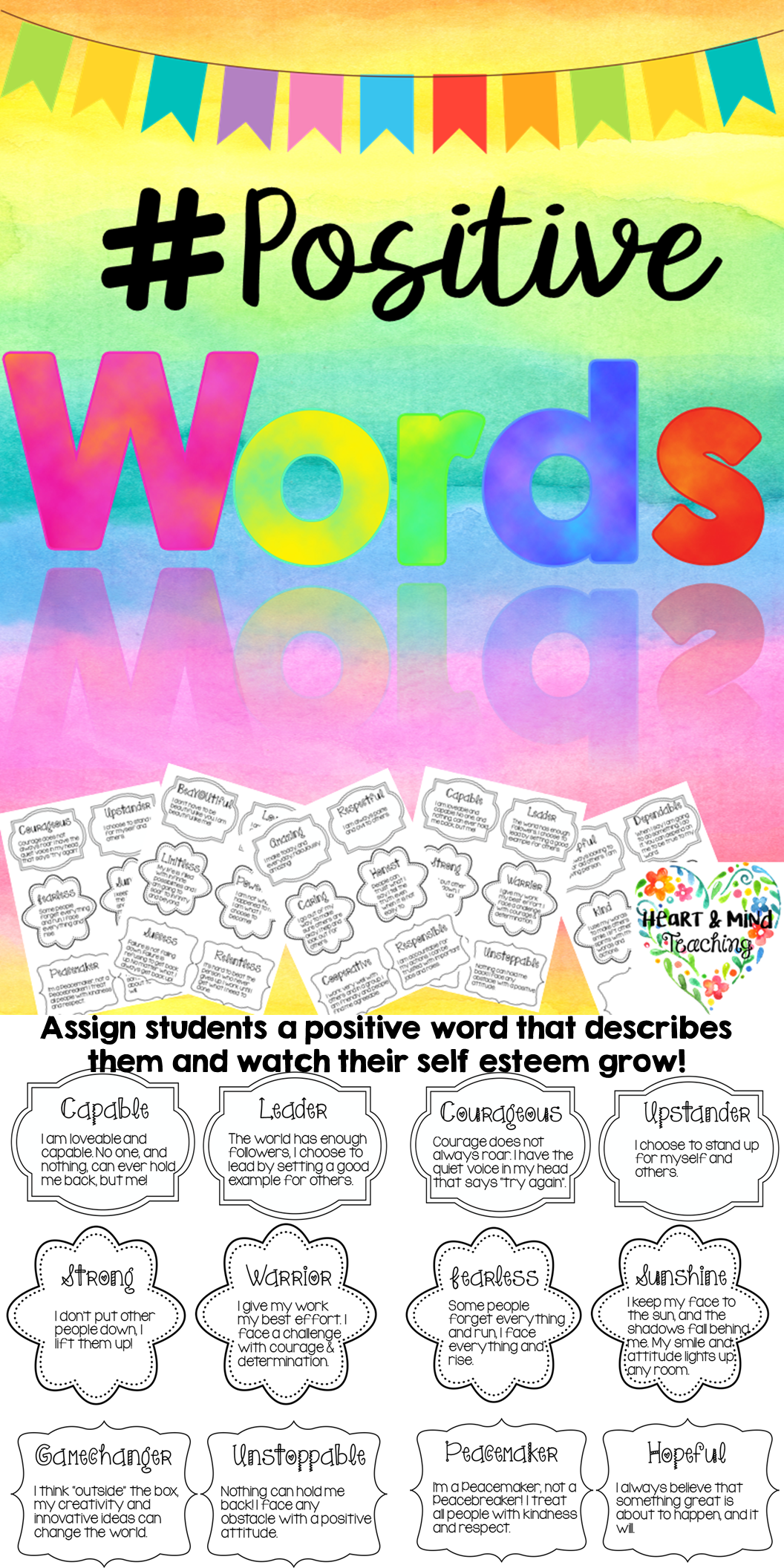 Positive Words Activity To Increase Kind Words And Self