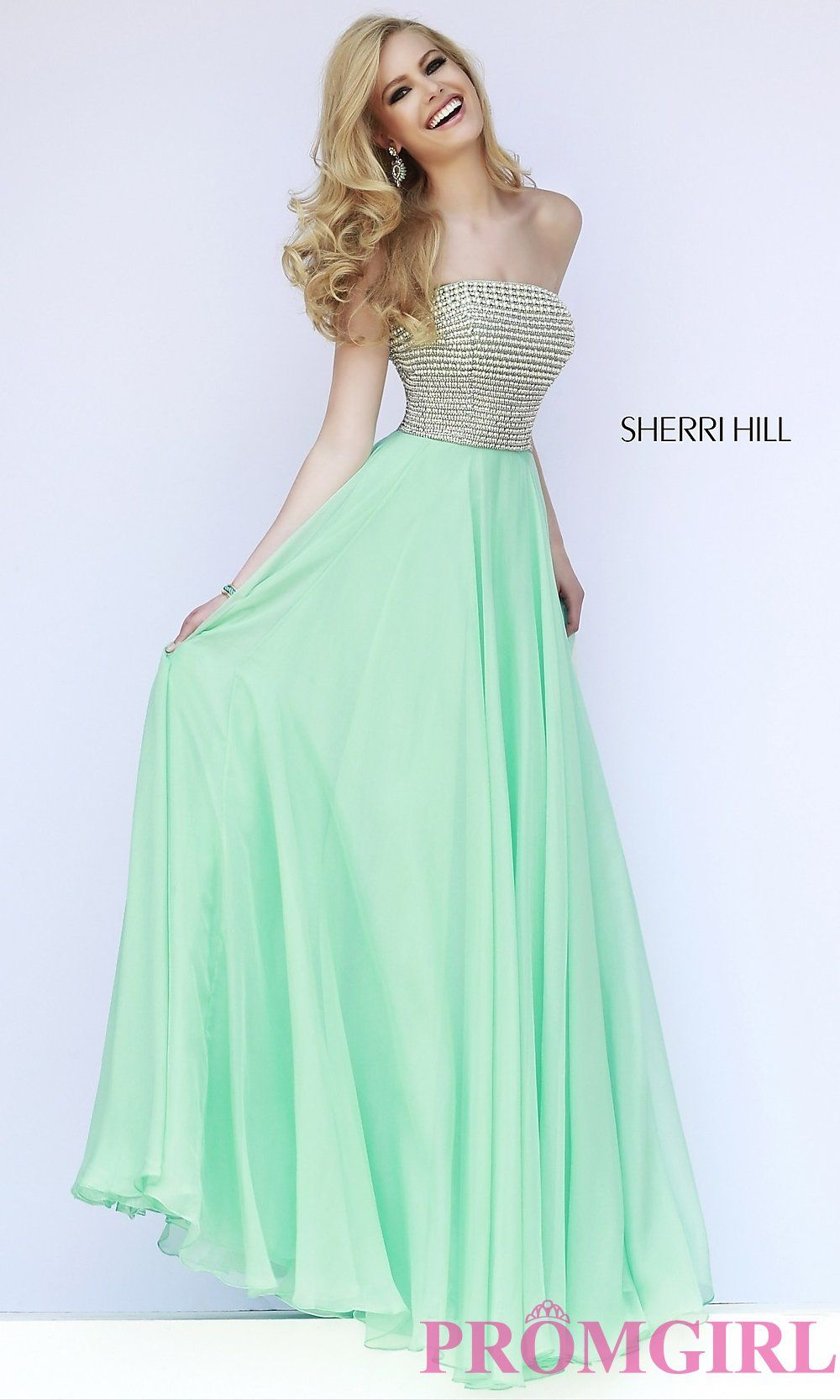 Image of Strapless Beaded Sherri Hill Prom Gown Style: SH-8551 Front Image