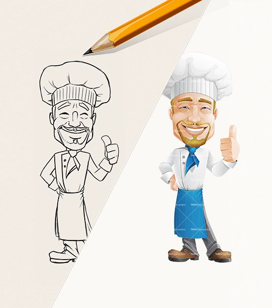 2 Male Cartoon Characters : Cheerful chef cartoon character male characters