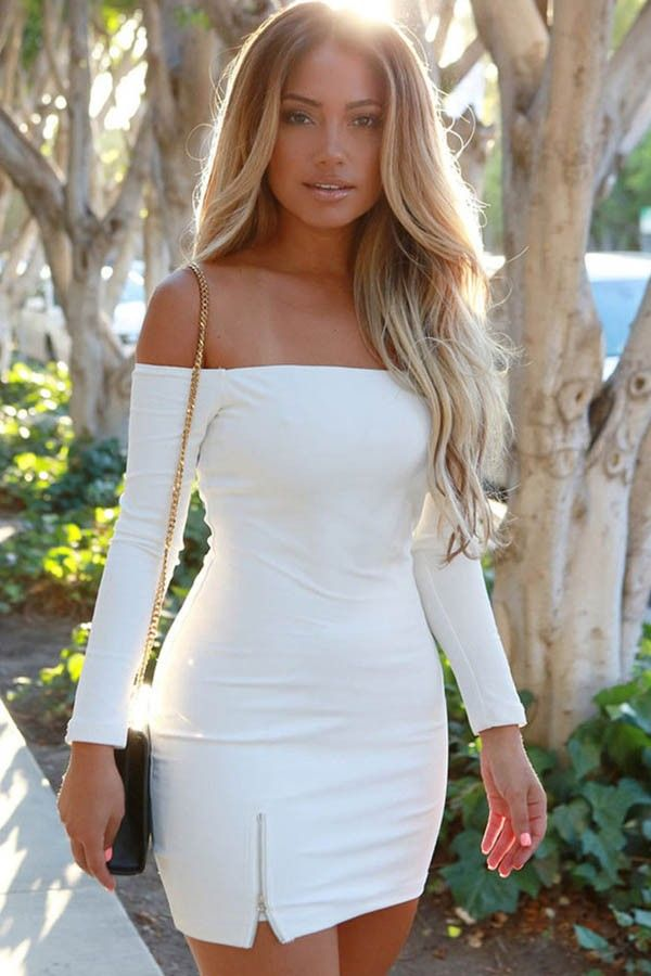 49+ White long sleeve off the shoulder dress ideas