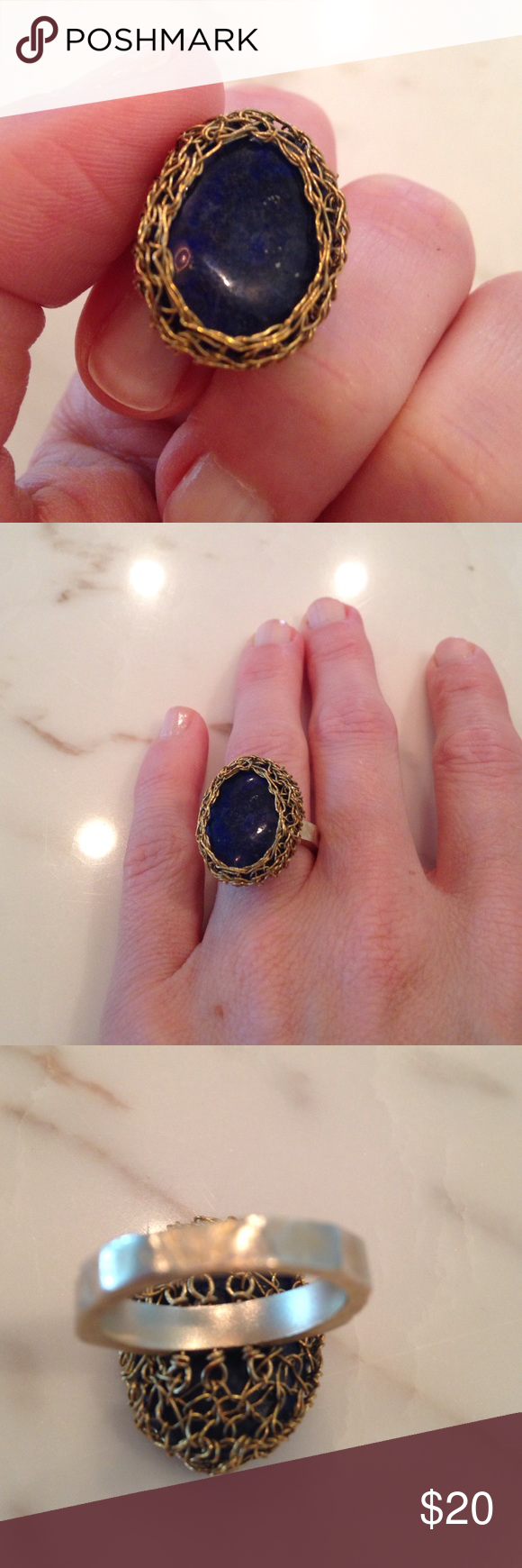 Natural Lapis ring Great ring! Blue lapis stone. Rocking setting, subtle movement with the wire basket setting. Natural organic stone! Anthropologie Jewelry Rings