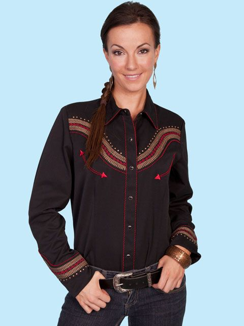 a07a737eac8 Scully Black Embroidered Shirt - More Colors (7 days to ship).  PL ...