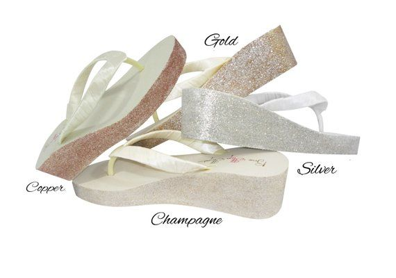 9bbecbb0cb1 Round Jewel Glitter Wedge- Ivory or White- Flip Flops with 2 inch heel-  Bride  Bridesmaid Flip Flop