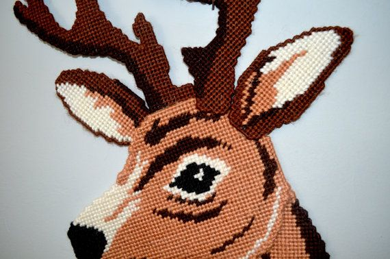 Vintage Deer Head Yarn Plastic Canvas Fall Christmas by AmoreDolce, $20.00