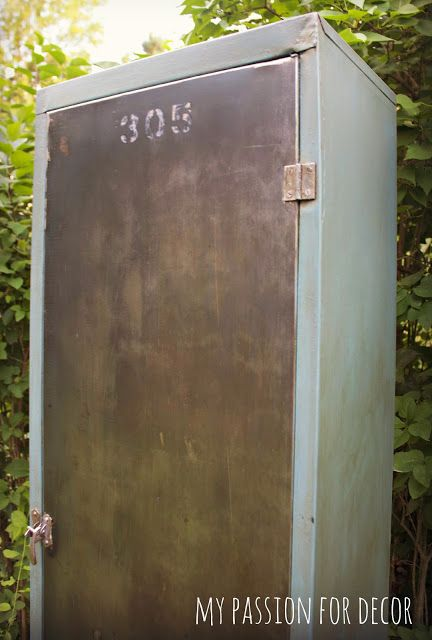 Rusty, old metal pantry cabinet turned vintage industrial locker using  Chalk Paint® by Annie - Rusty, Old Metal Pantry Cabinet Turned Vintage Industrial Locker