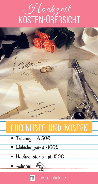 Hochzeit Kosten, Kalkulation & Tipps im Überblick